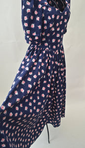1980s Laura Ashley floral pink and navy dress, puff sleeves and sweetheart neck line, Est UK size 8