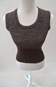 1970s Brown and silver tank top | Ladies vest top | Sleeveless knitwear | Est UK size 10/12/14