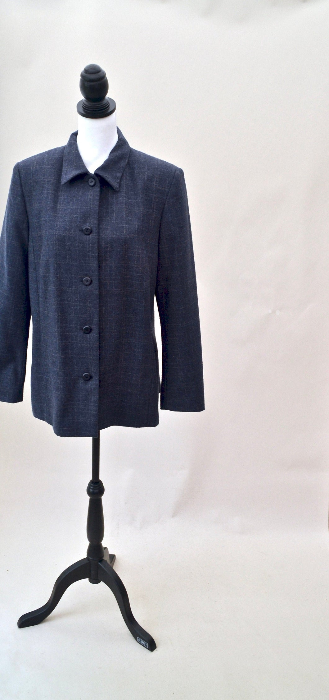 1970s Ladies blue checked blazer | collared long sleeve jacket | Est UK size 12/14