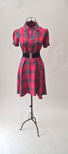 1950s Pink and grey checked dress | Vintage day dress | Collared dress | Est UK size 8