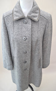 1980s Long grey overcoat | Ladies button up jacket | Long sleeve coat | Est UK size 12