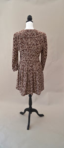 1980s Floral illusion dress | Browns and beige patterned dress | Est UK size 10/12