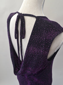 1990s Sparkly dress | Black and purple dress | Cowl back dress | Backless party dress | Est UK size 14/16