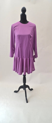 1980s Purple asymmetrical dress | Long sleeve midi dress with bow | Est UK size 12/14