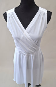 1960s White wrap style dress | Casual summer dress | Fit and flare dress | Est UK size 12/14