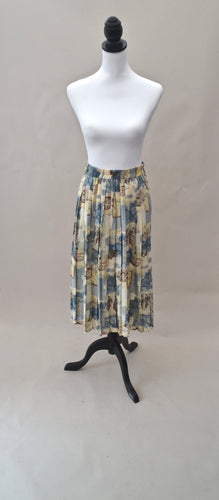 1980s Pleated casual skirt | Leaf pattern skirt | Est UK size 8/10