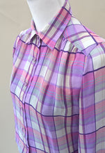 1980s Casual checked shirt | Long sleeve blouse | Purple and pink top | Est UK size 12