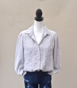 1980s Grey blouse | Ladies long sleeve shirt | Pleated top | Est UK size 12/14