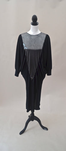 1980s Black and silver dress | Batwing midi dress | Long sleeve dress | Est UK size 10/12/14