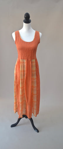 1970s Yellow and orange dress | Casual dress | Checked dress | Est UK size 10/12