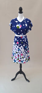 1980s Floral dress | Blue and white dress | Quirky print dress | Short sleeve dress | Est UK size 12