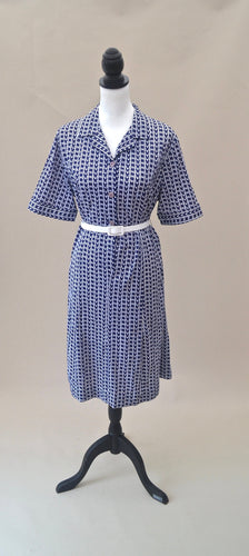 1970s Blue and white dress | Button up dress | Short sleeve dress | Est UK size 14/16
