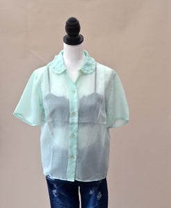 1980s Green blouse | Semi sheer top | Short sleeve shirt | Est UK size 12