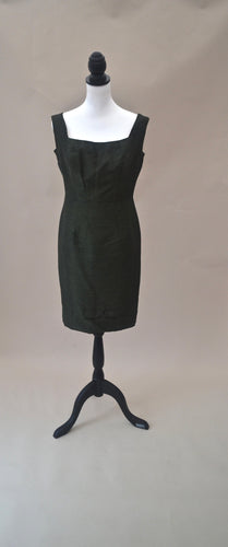 1960s cocktail dress | Dark green dress | Dress with bow detail | Est UK size 8/10