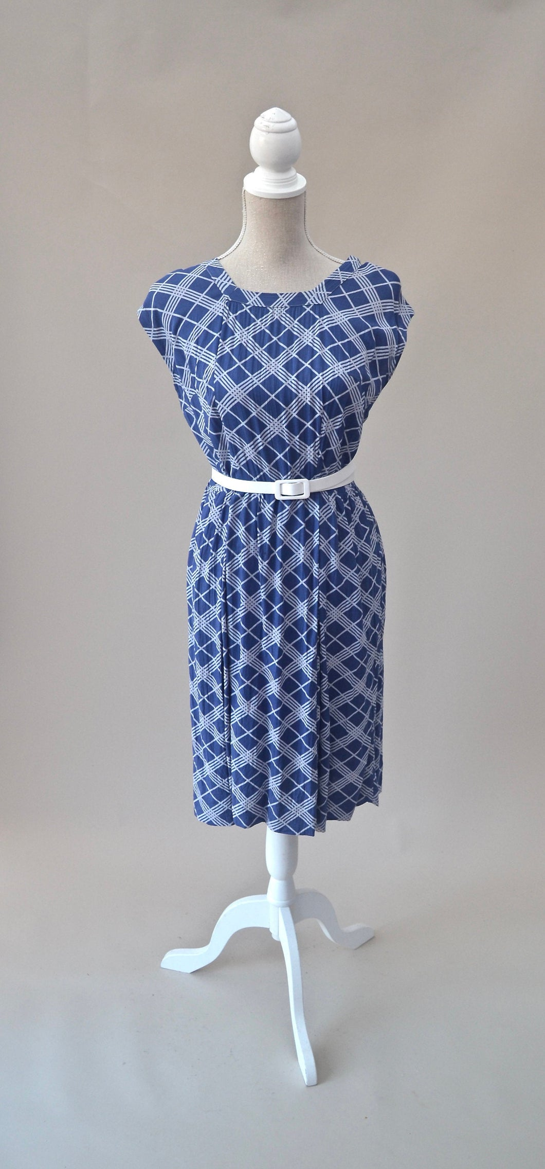 1980s Checked dress | Blue and white dress | Sleeveless dress | Est UK size 10