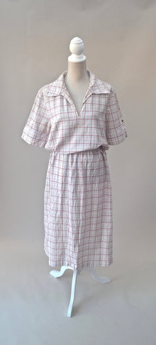 1990s Shirt dress | White and red dress | Checked dress | Casual dress | Est UK size 14/16