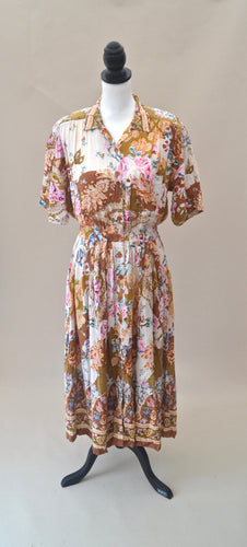 1980s Floral dress | Casual day dress | Dress with pockets | Short sleeve dress | Est UK size 8/10