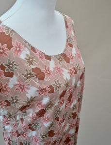 1970s Floral dress | Brown and pink dress | Short sleeve shift dress | Est UK size 14/16