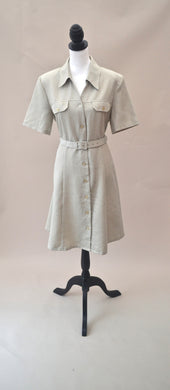 1980s Pale green dress | Button up shirt dress | Dress with belt | Est UK size 12/14