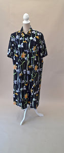 1980s Navy floral dress | Short sleeved dress | Casual day dress | Est UK size 18/20