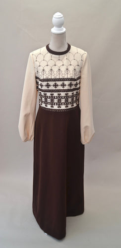 1970s Long dress | Floral dress | Brown and cream dress | Embroidered dress | Est UK size 14/16