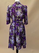 1970s Floral dress | purple dress |  Casual day dress | Half sleeve dress | Est UK size 10