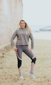 Athletic Gray Cropped Fleece Hoodie