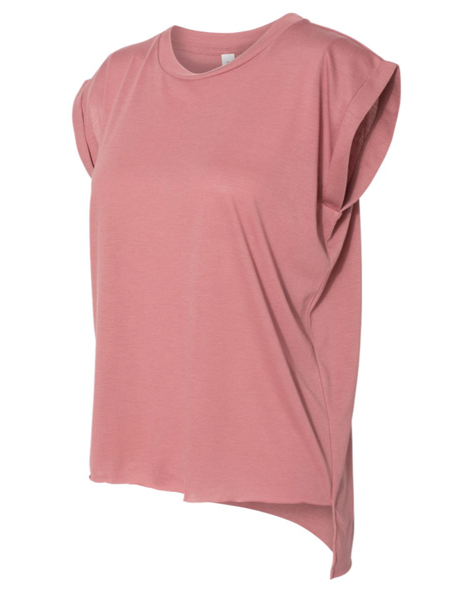Life Offers More Ornate Flowy Cuffed Mauve Tee