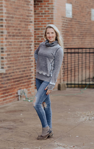 Vintage Zen Fleece Cowl Neck Sweatshirt