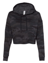 Sycamore Spartans Mascot Black Camo Cropped Hooded Sweatshirt