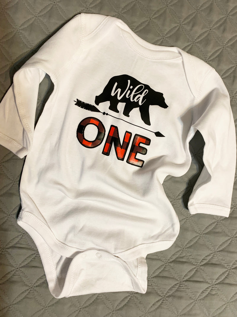 Wild One Long Sleeve Baby Jersey One Piece