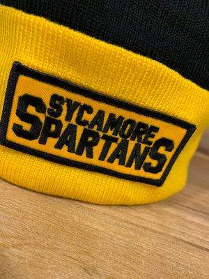 Sycamore Spartans Black and Gold Knit Pom Beanie Hat