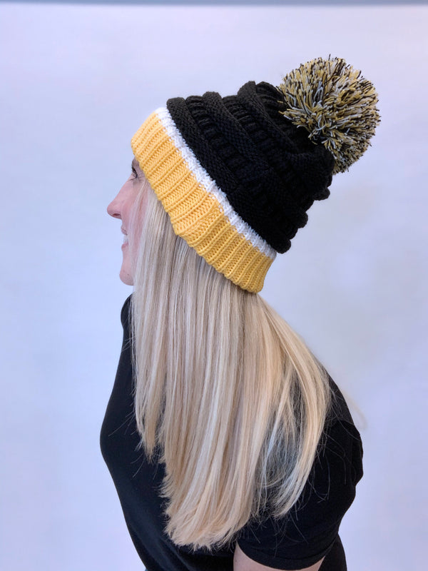 Black and Gold Pom Winter Chunky Stretchy Knit Beanie Hat