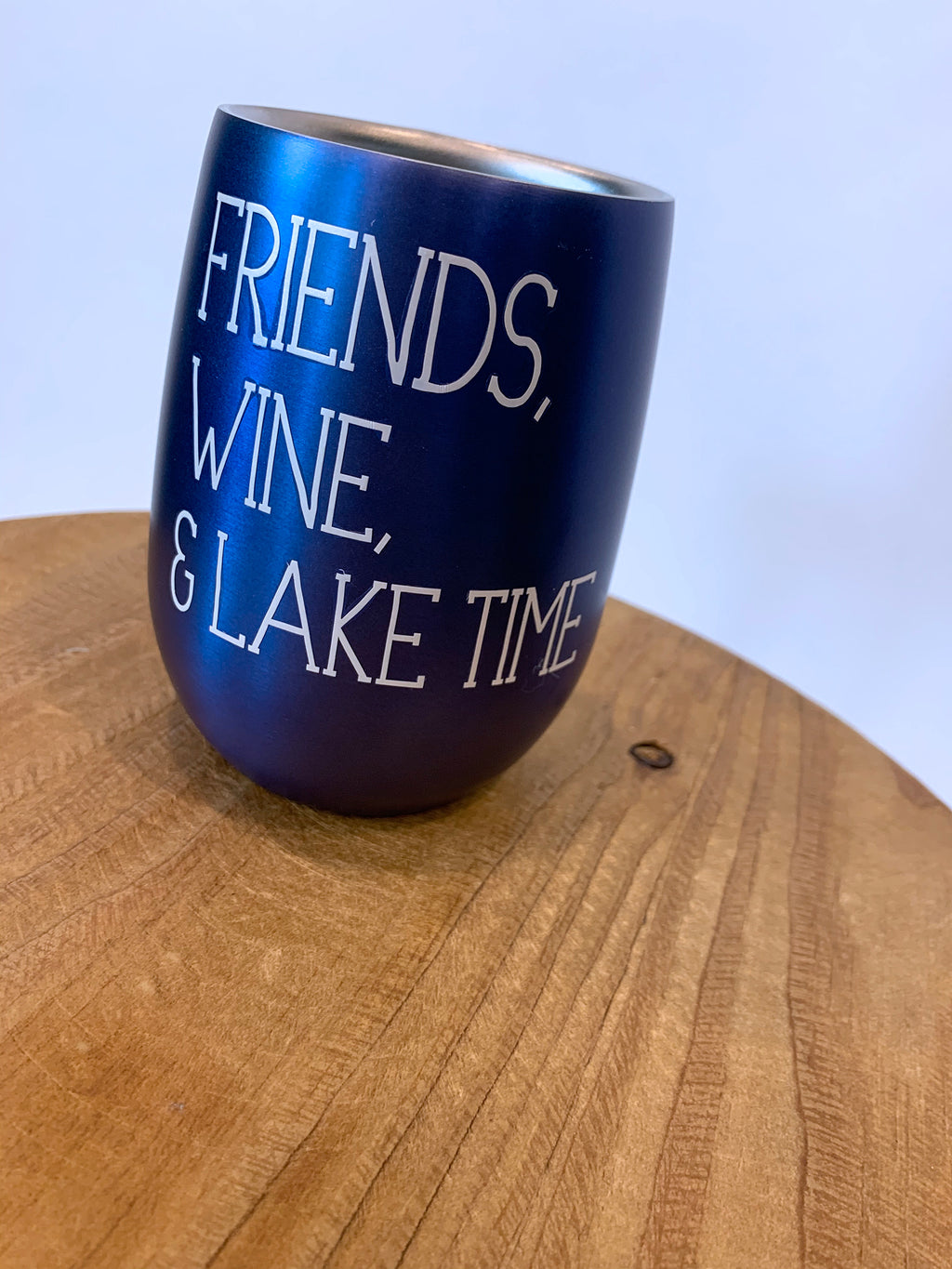 Friends, Wine and Lake Time Wine Tumbler in Blue