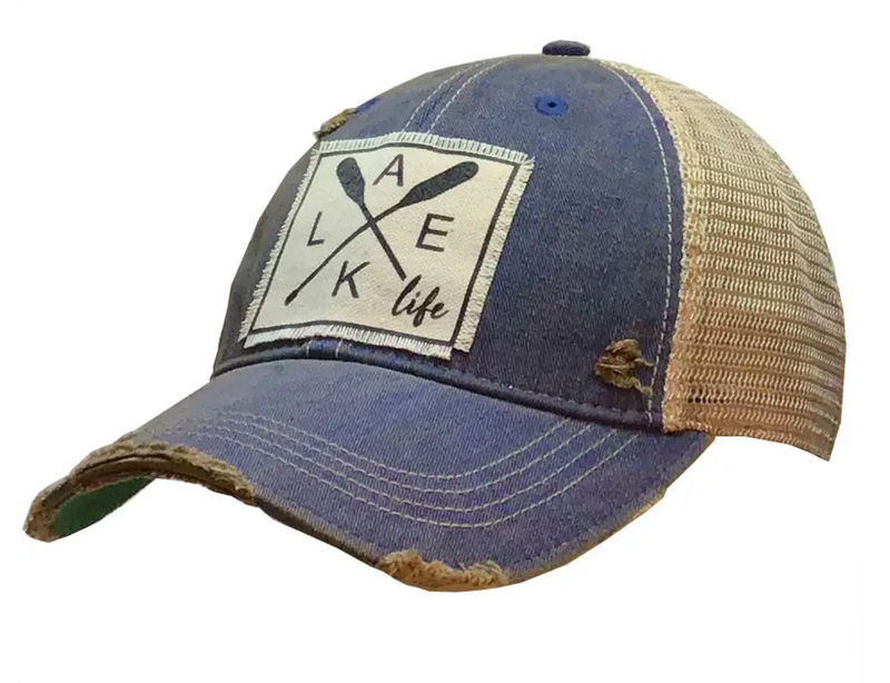 Lake Life Distressed Trucker Cap