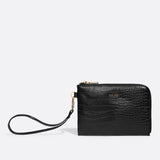 Stacy Wristlet - Black Croc or White Croc