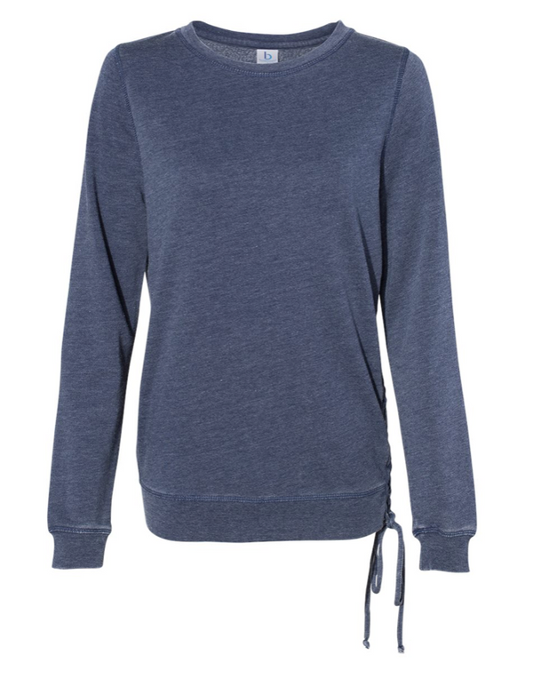 Life Offers More Ornate Blue Enzyme-Washed Lace-Up Sweatshirt