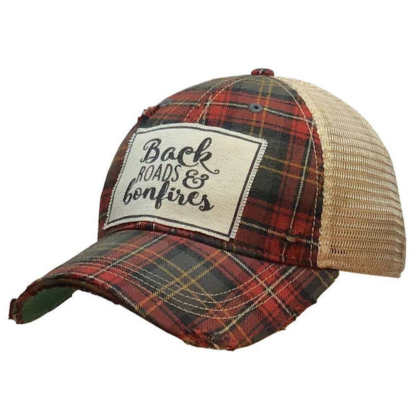 Back Roads & Bonfires Distressed Trucker Cap