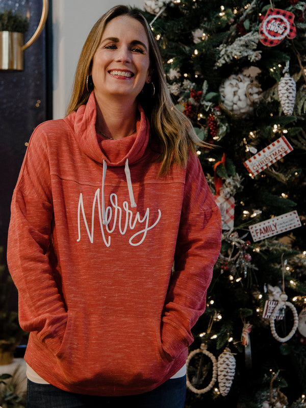 Merry Mélange Fleece Cowl Neck Sweatshirt