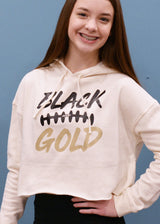 Black and Gold Football Cropped Hooded Sweatshirt