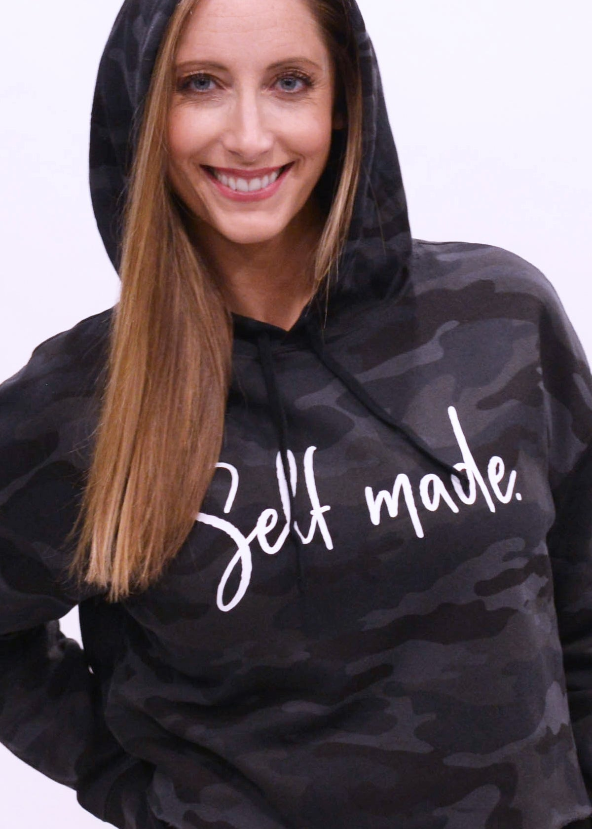 Self Made Black Camo Cropped Hooded Sweatshirt