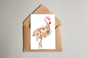 Flower Flamingo kunstkort