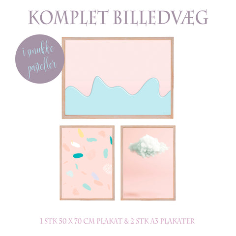 Pastelcollection - Komplet billedvæg - meltdown - confetti - pastelsky