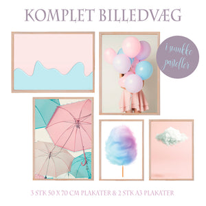 Pastelcollection - Stor komplet billedvæg - 5 plakater