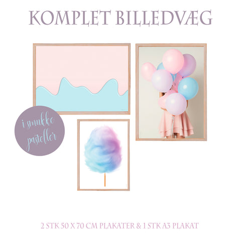 Pastelcollection - pastel billedvæg - 3 plakater