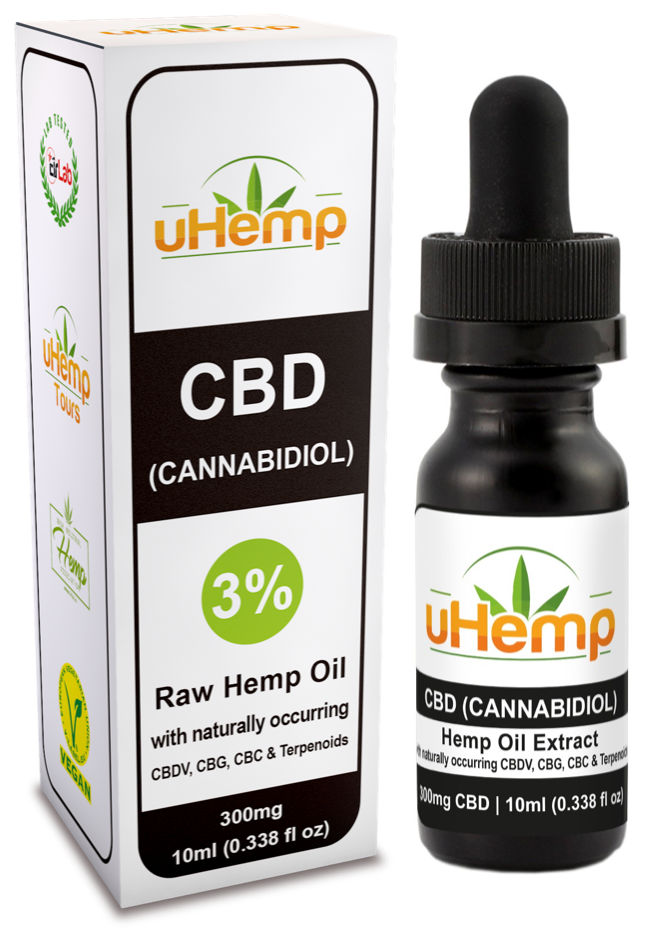 uHemp CBD Hemp oil extract 300mg/3% (10ml) - Ceelabb CBD Products