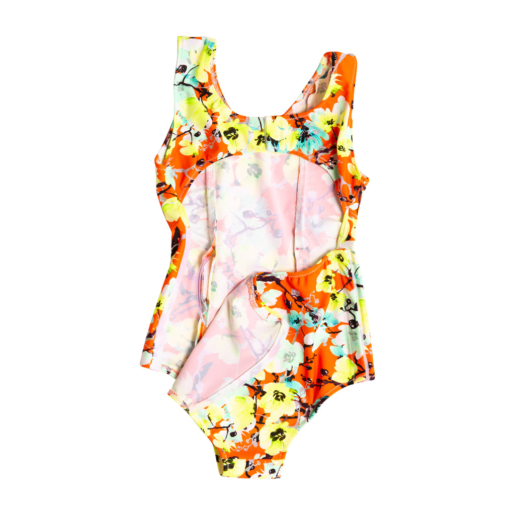 Adaptive girls red blossoms Gtube one piece