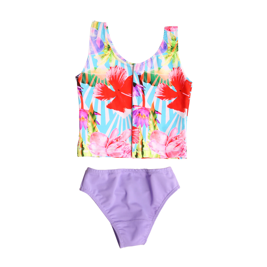 Adaptive Girls Hibiscus Palms two piece