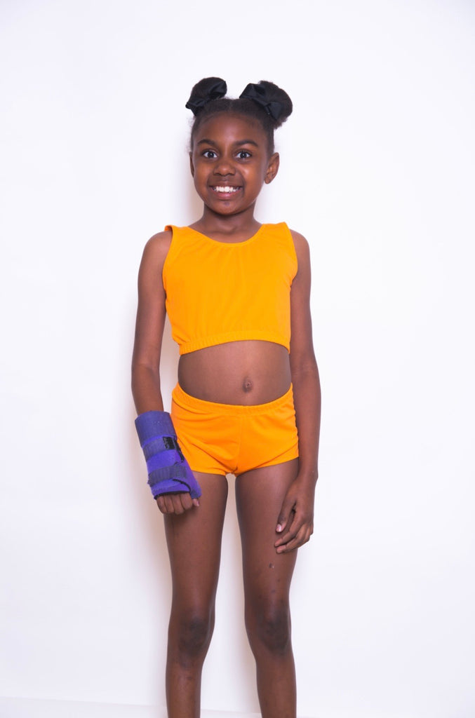 Adaptive Girls Orange Two Piece