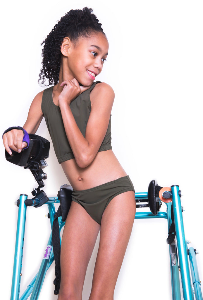 Adaptive Olive Green Girls Two Piece